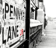EIN ANSICHT-UNTEN PENNY-WEG, LIVERPOOL, ENGLAND Stockbild