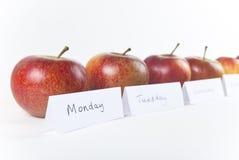 Ein Apple ein Tag - schiefe Ansicht Stockfoto