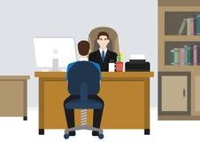Ein Arbeitgeberchef, der mit seinem Angestellten spricht stock abbildung