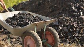 Ein armer Mann l?dt nat?rliche Kohle in einem LKW mit einer Schaufel stock video