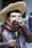 Ein Ausführender in der Maifeiertagsparade in Cusco, Peru lizenzfreies stockbild