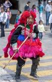 Ein Ausführender in der Maifeiertagsparade in Cusco, Peru lizenzfreie stockfotografie