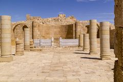Ein Avdat Ruins uniqueness Byzantine Church UNESCO World Heritage site. UNESCO World Heritage site, Ein Avdat National Park, Negev desert, Israel. In Ellinistic Stock Photos