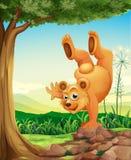 Ein Bär, der einen Handstand nahe dem Baum tut lizenzfreie abbildung