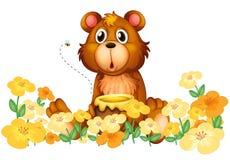 Ein Bär mit einem Honig am Garten stock abbildung