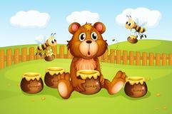 Ein Bär und Bienen innerhalb eines Zauns Lizenzfreie Stockfotos