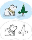 Ein Bär und ein Baum des neuen Jahres Lizenzfreies Stockbild