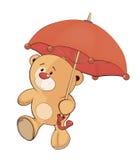 Ein Bärenjunges und ein Regenschirm stock abbildung