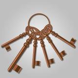 Ein Bündel alte Schlüssel. Stockbild