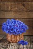 Ein Bündel der schönen Sommerblume der Kornblume im Korb Lizenzfreies Stockfoto