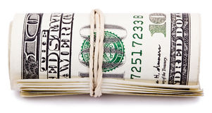 Rolle von 100 US$ Rechnungen Stockbilder