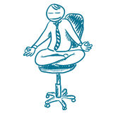 Ein Büroangestellter, der in der Lotoshaltung stillsteht stock abbildung