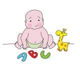 Ein Baby, das mit Spielwaren spielt Lizenzfreie Stockbilder