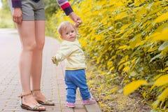 Ein Baby geht mit Mutter Stockbild
