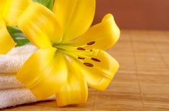 Ein Badekurortaufbau mit gelben Lilienblumen Lizenzfreie Stockbilder