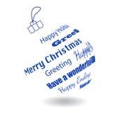 Ein Ball der weißen Weihnacht von gemachten Grußphrasen lizenzfreie abbildung