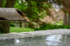 Ein Bambusrohr, das langsam Wasser tropft stockfotos