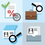 Ein Bankkonto haben, Finanzierung, Kredit, Kreditgeschichte, Überprüfung, farbige, flache Illustrationen, Ikonen Stockfoto