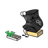 Ein Barrel Erdöl traurig, nahe einem Kasten Geld Auch im corel abgehobenen Betrag Stockfotografie