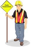 Ein Bauarbeiter, der harten Hut trägt vektor abbildung