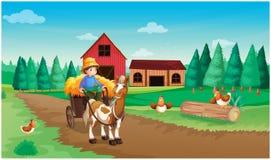 Ein Bauernhof mit einem Landwirt und seinen Haustieren lizenzfreie abbildung