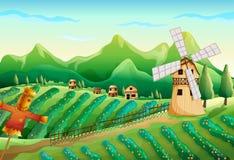 Ein Bauernhof mit Holzhäusern und einer Vogelscheuche stock abbildung