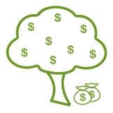 Ein Baum gemacht vom vier Blatt-Klee mit Dollar-Zeichen Stockbilder