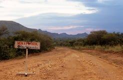 Ein Bauzeichen, Karamoja, Uganda lizenzfreies stockfoto