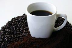 Ein Becher Kaffee umgeben durch Kaffeebohnen Lizenzfreies Stockfoto