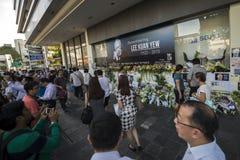 Ein behelfsmäßiger Platz, damit Besucher zuletzt respektieren zu geliebtem Herrn zahlen Lee Kuan Yew, Gründervater von modernem S Stockfotografie
