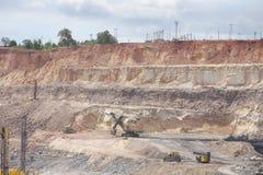 Ein Bergbau Schaufelexkavator in einer im Tagebau Kohlengrube Stockfotografie