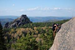 Ein Bergsteiger Stockfoto