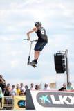 Ein Berufsreiter am Roller-PAK-Wettbewerb auf dem Central Park Stockbild
