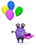 Ein beschmutztes Monster, das Geburtstagsgeschenk und -ballone hält. Stockfotos