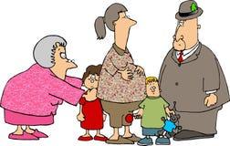 Ein Besuch mit den Großeltern Lizenzfreies Stockfoto