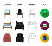 Ein Bett, ein Lehnsessel, eine Toilette, eine Garderobe Gesetzte Sammlungsikonen FurnitureFurniture in der Karikatur, Schwarzes,  Stockbild