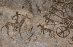 Ein Bild auf der Wand einer Höhle durchgeführt lizenzfreie stockbilder