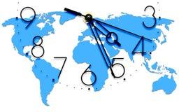 Ein Bild einer netten Borduhr mit Weltkarte Stockbilder
