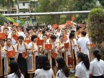 Ein Bild von Studenten an der Graduierungsfeier Stockfotografie