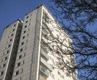 Ein blauer Himmel, ein hoher Turm und ein Baum Lizenzfreie Stockfotos