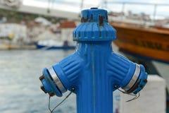 Ein blauer Hydrant Stockfotografie