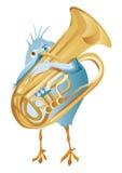 Ein blauer Vogel stellen Horn her Stockfotografie