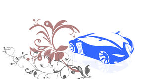 Ein blaues Auto mit Blumenhintergrund Lizenzfreie Stockbilder