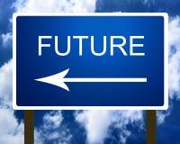Ein blaues Straßen-Straßenschild der zukünftigen Richtung Stockbilder