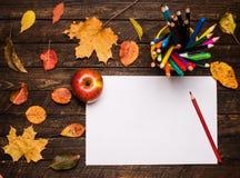 Ein Bleistift auf dem leeren Papier, einem Apfel und Herbstlaub auf woode Lizenzfreie Stockfotografie