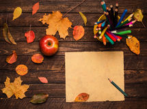 Ein Bleistift auf dem leeren Weinlesepapier, einem Apfel und Herbstlaub Lizenzfreies Stockfoto