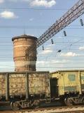 Ein Blick auf eine alte Bahnstation auf den Stadtränden von Kiew Lizenzfreies Stockfoto