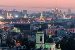 Ein Blick von der Höhe zur Mitte von Moskau Lizenzfreies Stockbild