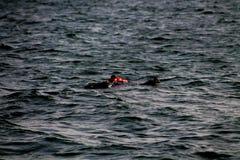Ein blindes Schwimmen in das Meer Lizenzfreie Stockfotos