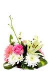 Ein Blumenstrauß der frischen bunten Blumen auf Weiß Lizenzfreie Stockbilder